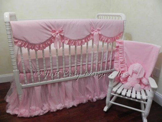 Princess crib set   Etsy Pink Baby Bedding  Pink Crib Bedding Set Giselle Pink  Bumperless Girl Crib  Bedding  Crib Rail Cover  Princess Baby Bedding  1 4 pieces