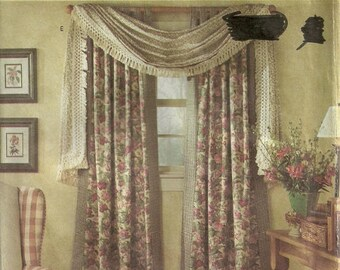 Window scarf valance   Etsy Simplicity 8052 Drapes Cafe Balloon Scarf Curtains Valance Sewing Pattern  Country Window