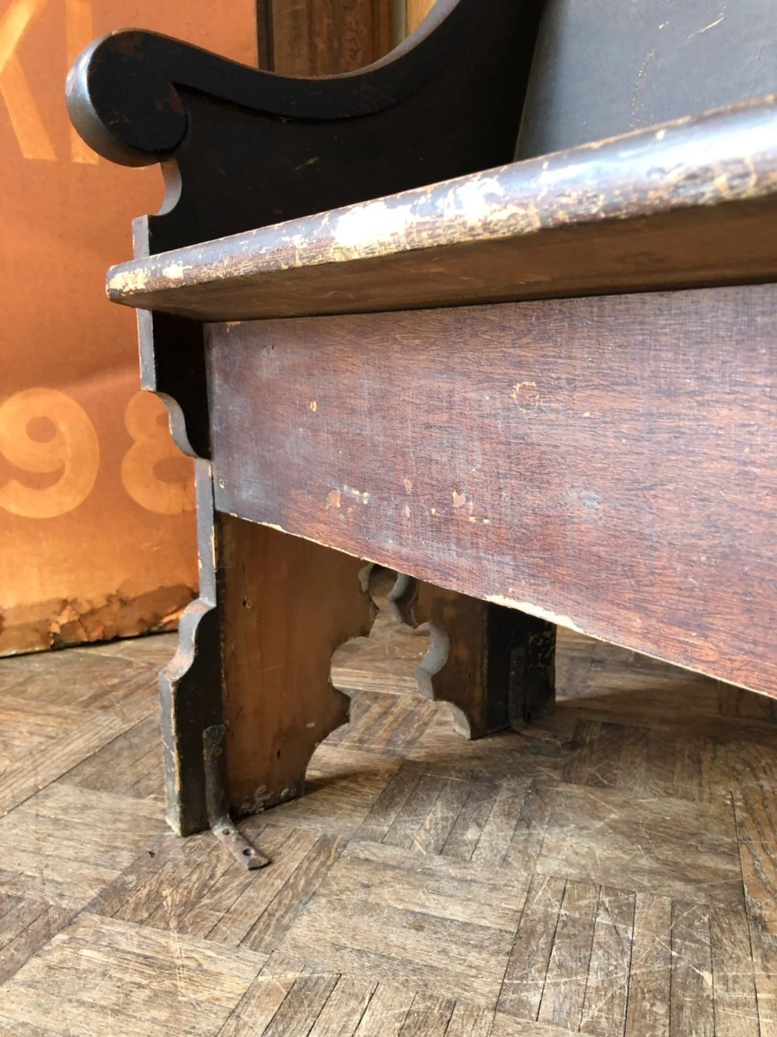 Antique Church Pew Farmhouse Bench Primitive Entryway