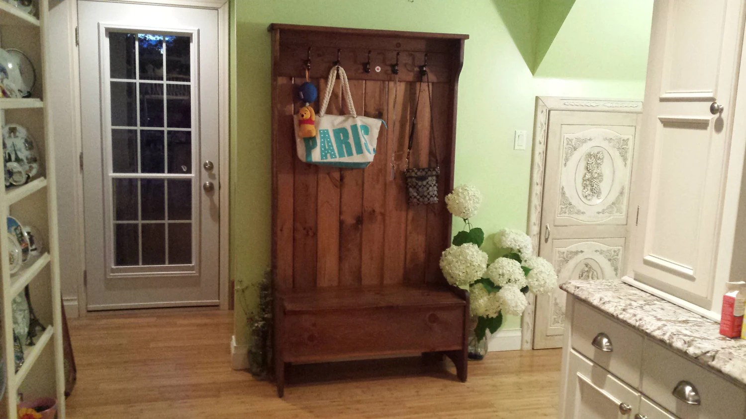 Rustic Chic Coat Hanger Pine Hall Tree Entry Way Bench
