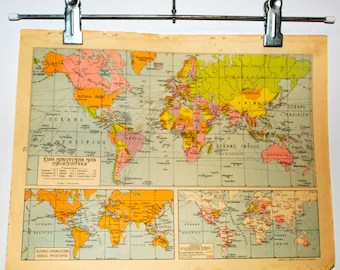 World map 1940   Etsy Antique spanish Major shipping routes of the world map   1940