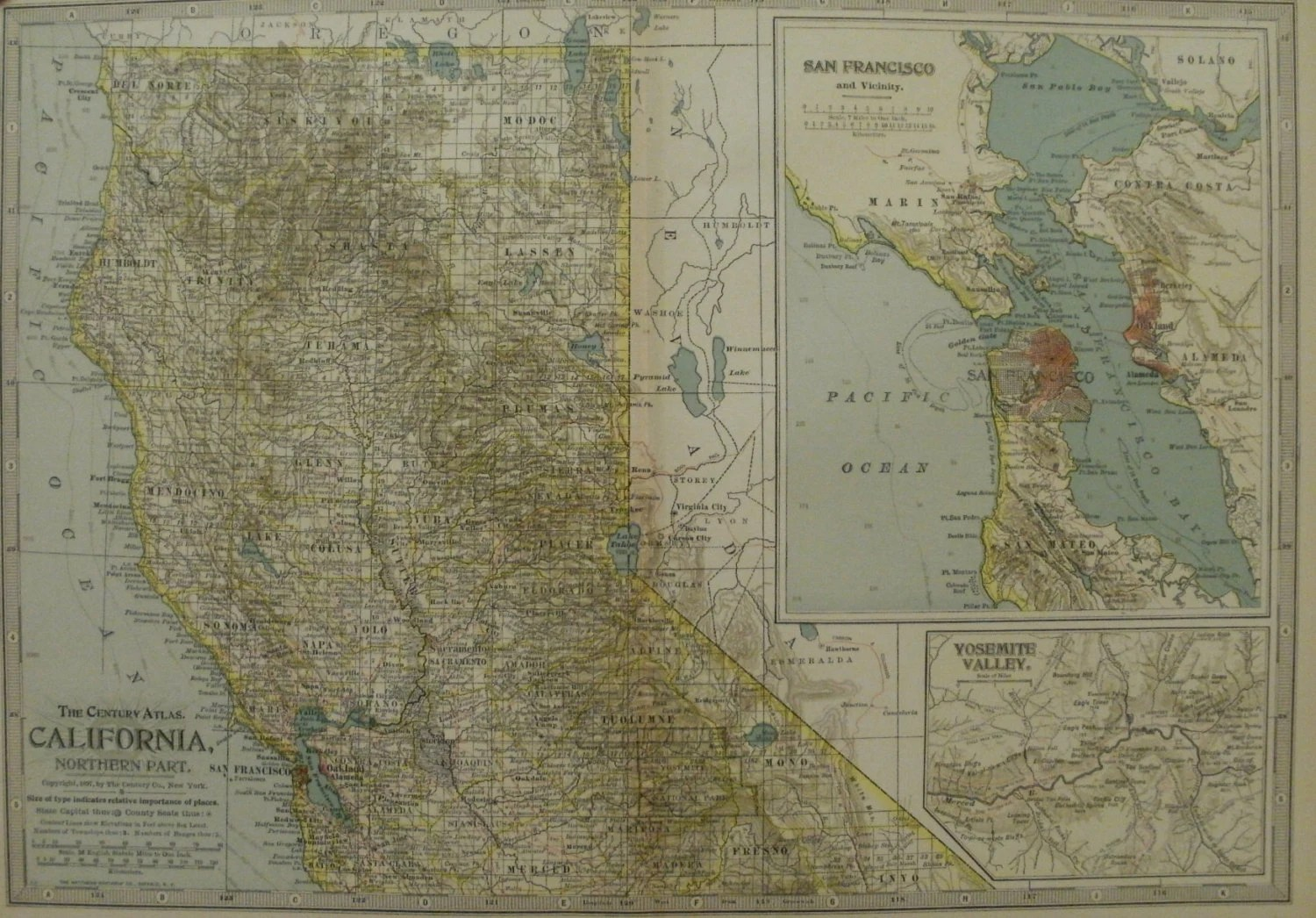 Vintage bay area map   Etsy California Map California State Map North Part California San Francisco Map Bay  Area Map United States Map Wall Map Art Wall 1902 10x15 VS14