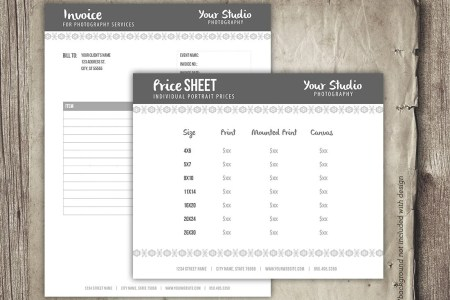 Photography Business Forms Invoice Form and Portrait Pricing   Etsy image 0