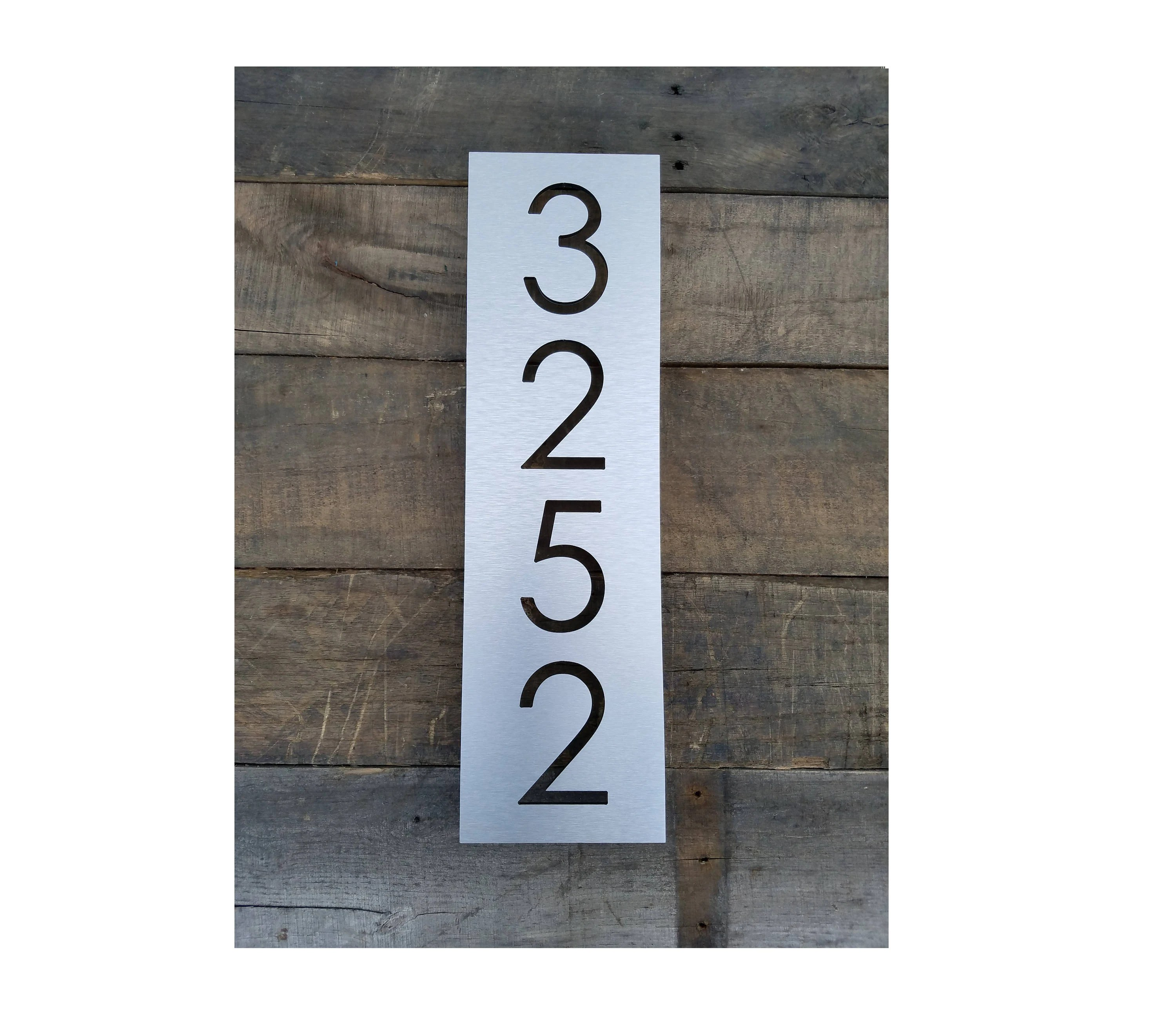 House Numbers Vertical Modern Address Plaque Brushed Metal Size     House Numbers Vertical Modern Address Plaque Brushed Metal Size Options  Custom Made