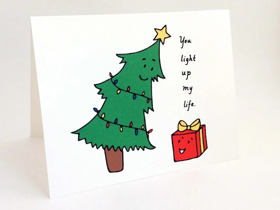 Cute Christmas Card // Punny Holiday Card // Whimsical   Etsy
