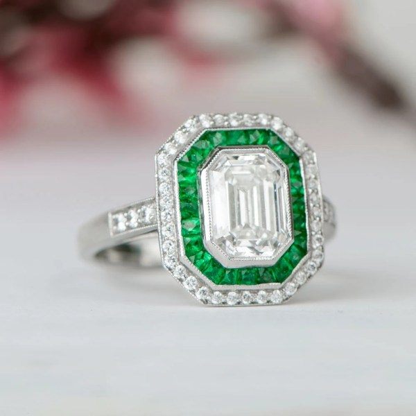 Vintage emerald cut engagement ring   Etsy Diamond and Emerald Engagement Ring   Vintage Style   GIA   F Color   Row  of pave diamonds surrounding an emerald cut diamond