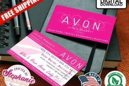 Avon business cards   Etsy Avon Business Double Sided Card Template PDF Customize Print From Home  Mockup Digital Download Professional Pink