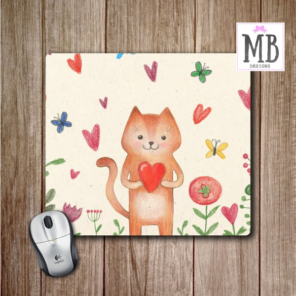 Floral Mouse Pad  Cat Mouse pad  Office Accessories  Cute Desk     Floral Mouse Pad  Cat Mouse pad  Office Accessories  Cute Desk Accessories   Gift for Her  Cute Mouse Pads  Gift for Cat Lovers