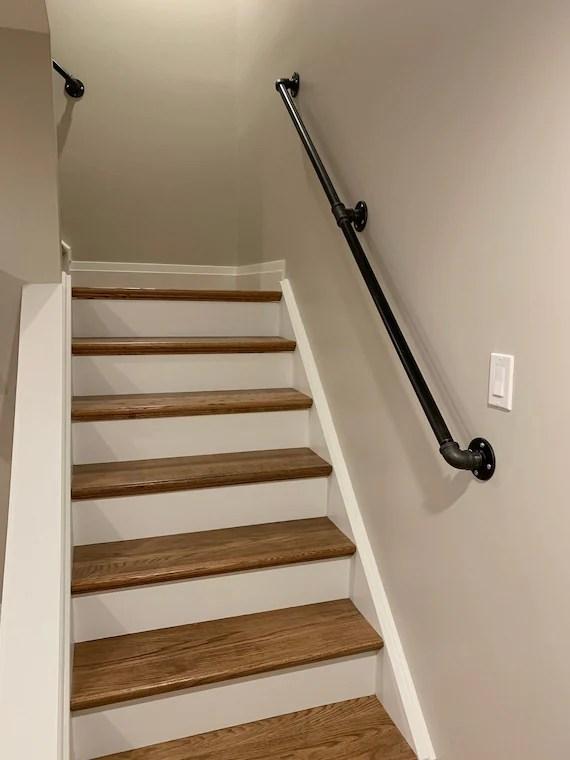 Industrial Pipe Railing Rustic Industrial Handrail Metal Etsy | Industrial Pipe Stair Railing | Threaded Pipe | Rail | Banister | Galvanized Pipe | Wall