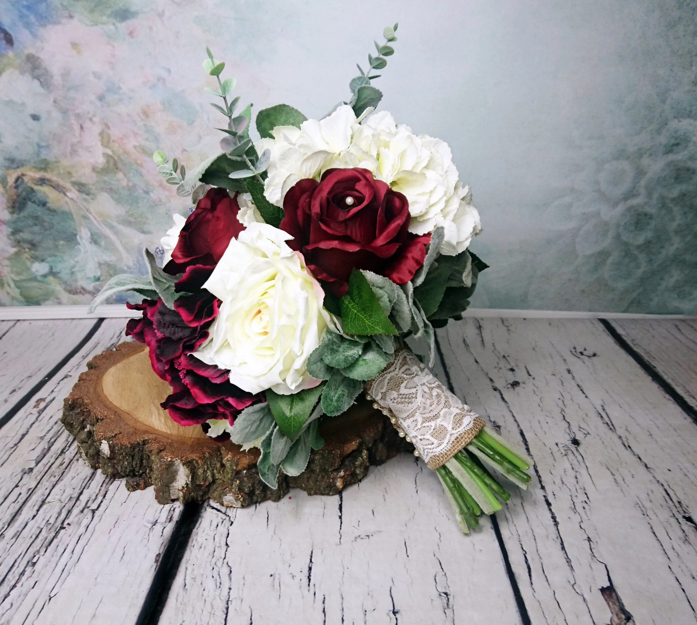 Large wedding bouquet realistic silk flowers burgundy ivory dusty     Large wedding bouquet realistic silk flowers burgundy ivory dusty miller  greenery rose hydrangea peony eucalyptus elegant rustic burlap lace