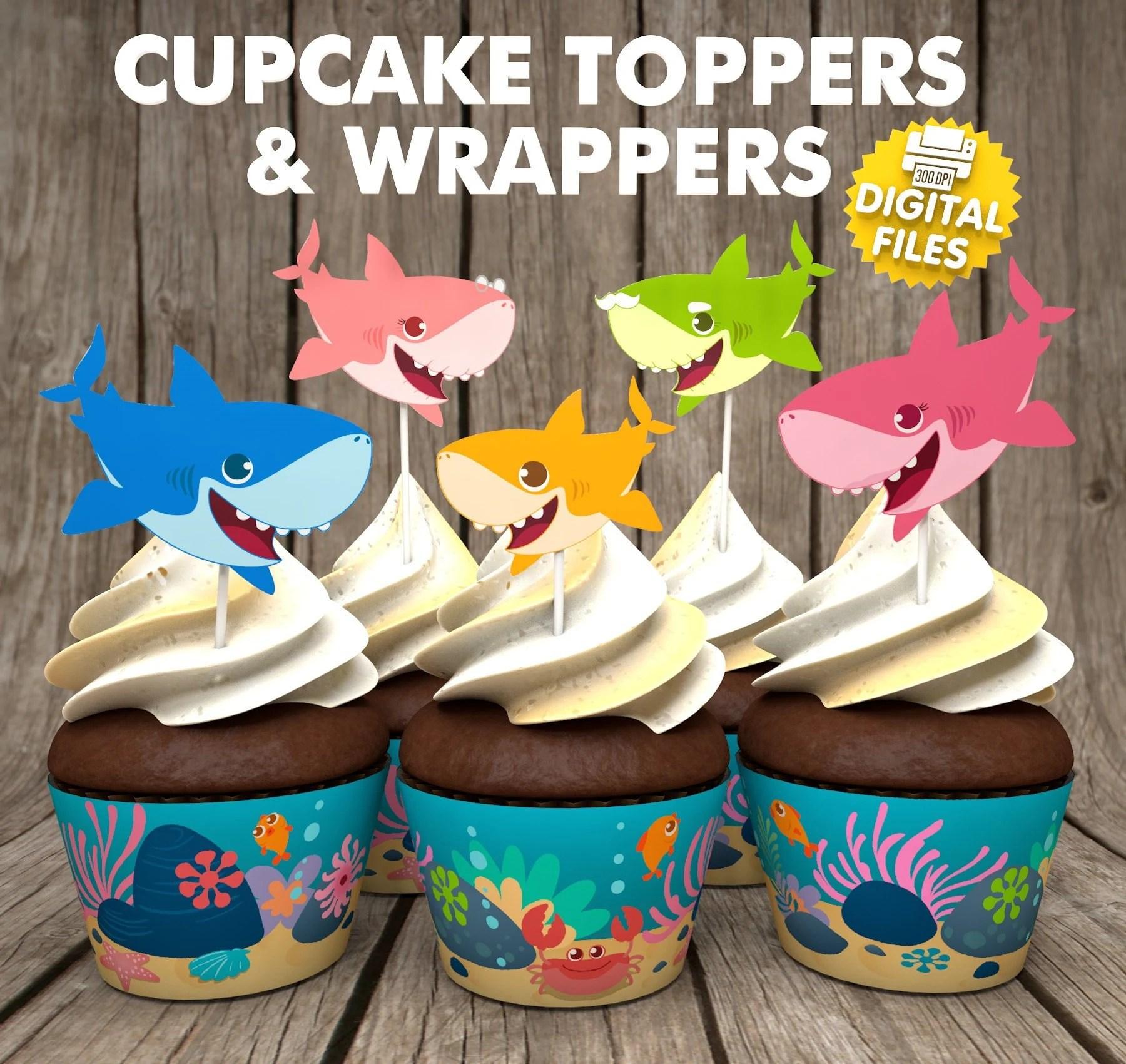 Baby Shark Cupcake Etsy