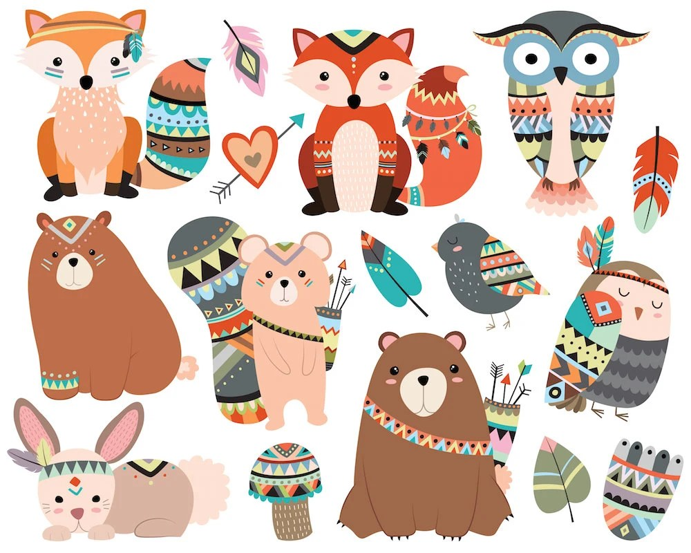 Woodland Tribal Animals Clipart 300 DPI Vector PNG & JPG ...