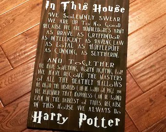 Harry potter decor   Etsy In This House We Do Harry Potter   Large Wooden Sign   Harry Potter    Gallery Wall   Home Decor