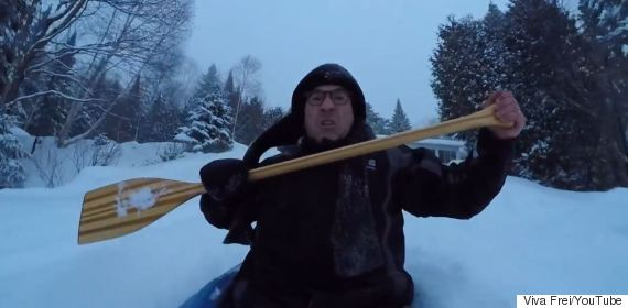 Backyard Snow Kayaking Goes As Well As You'd Expect