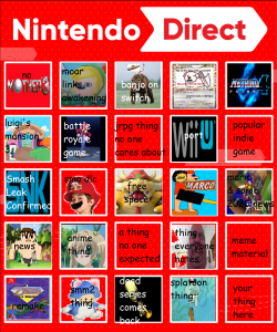 meh nintendo direct bingo nintendo know your meme