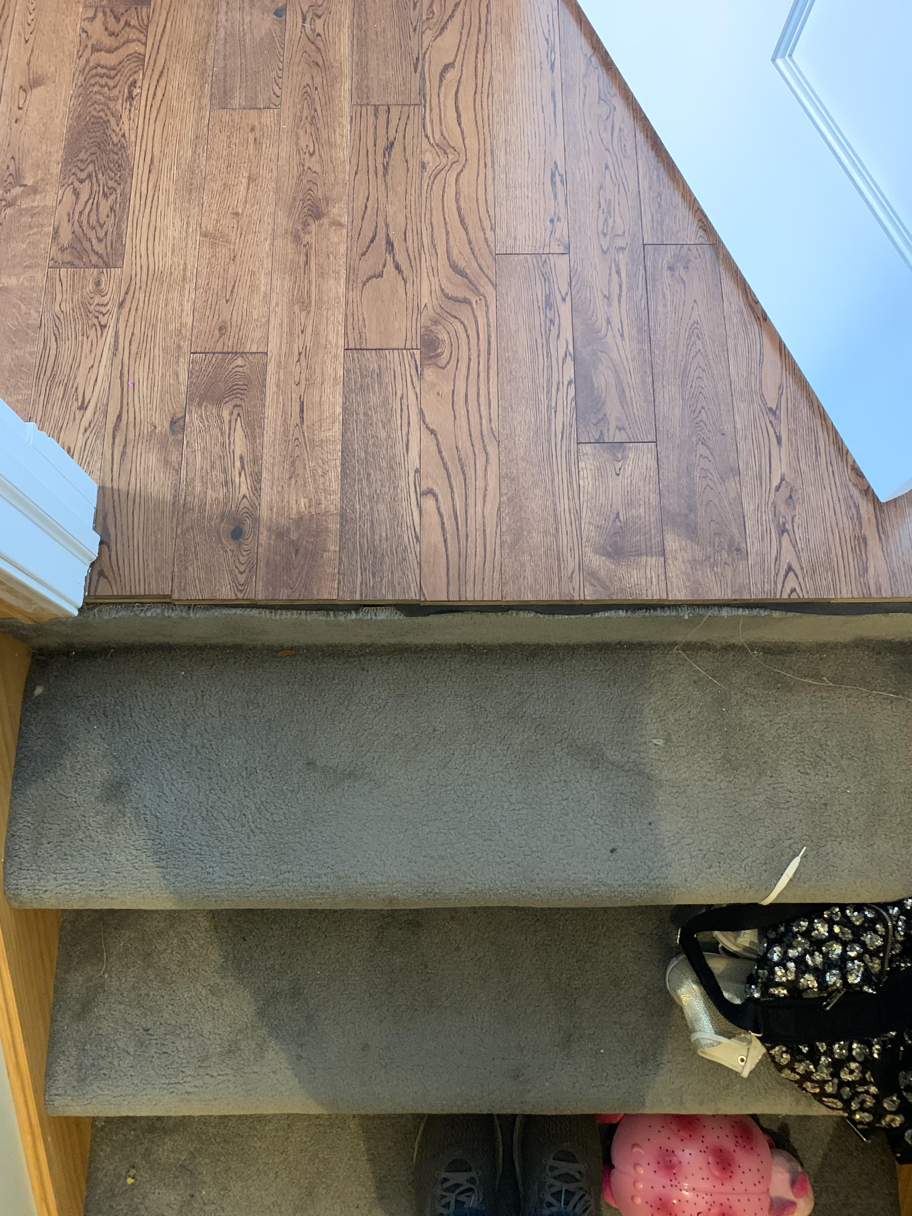 Advice On This Transition To Carpeted Stairs The Wood Is Also Not | Hardwood Floor To Stair Transition | Tile | Molding | Vinyl Plank | Laminate | Carpeted Stairs
