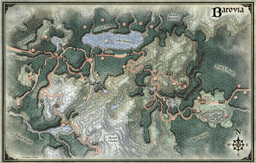 Barovia map with travel times included  in hours to get to the next          i redd it