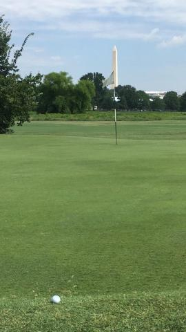 Tee Shot on hole 3 at East Potomac in DC   golf Tee Shot on hole 3 at East Potomac in
