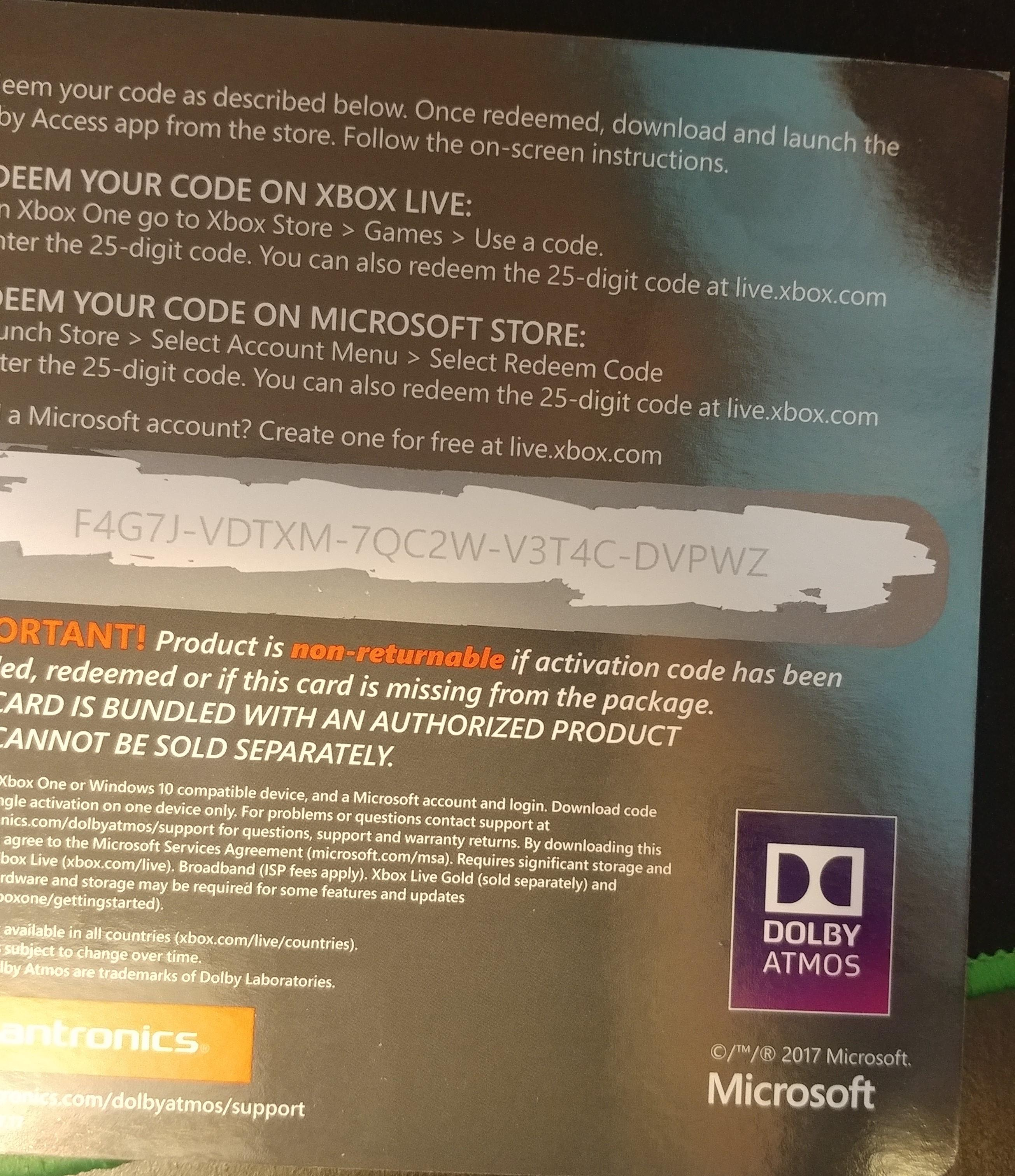 Minecraft Redeem Code Xbox One