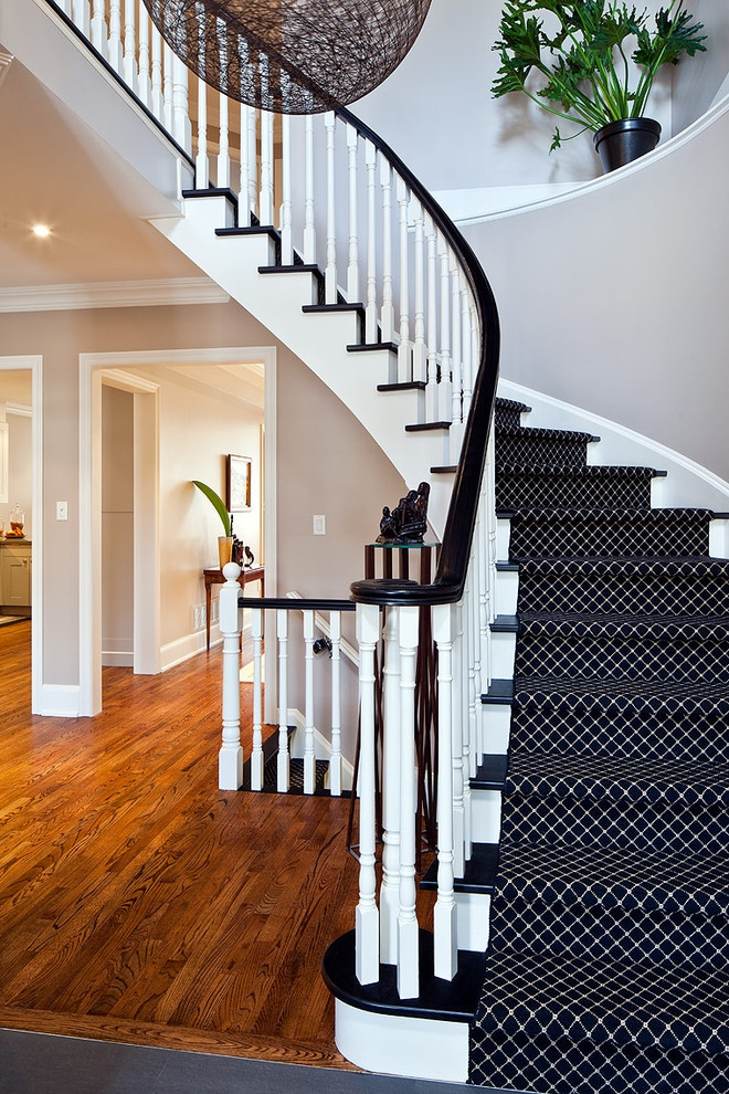 43 Cool Carpet Runners For Stairs To Make Your Life Safer | Dark Carpet On Stairs | Gray | Monochrome | Wall | Modern | Metal Bar On Stair