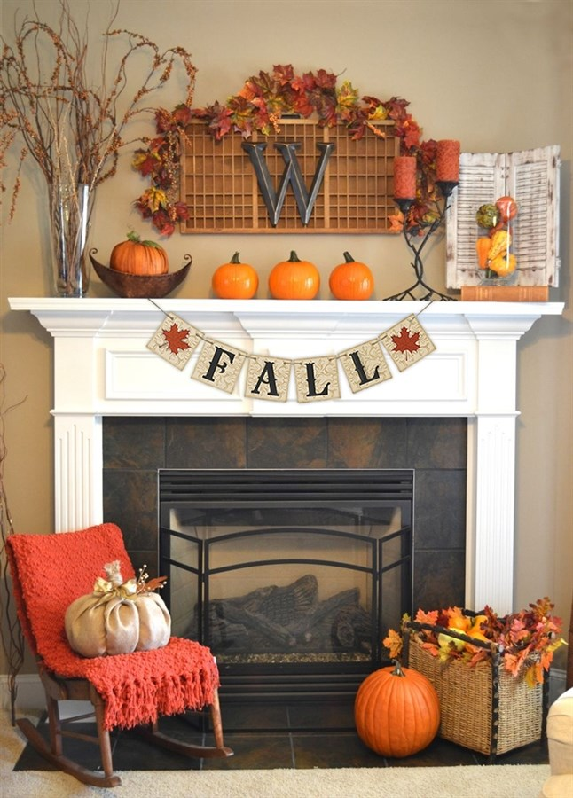 87 Exciting Fall Mantel D    cor Ideas   Shelterness A banner could become a cool addition to your fall decor  The one here