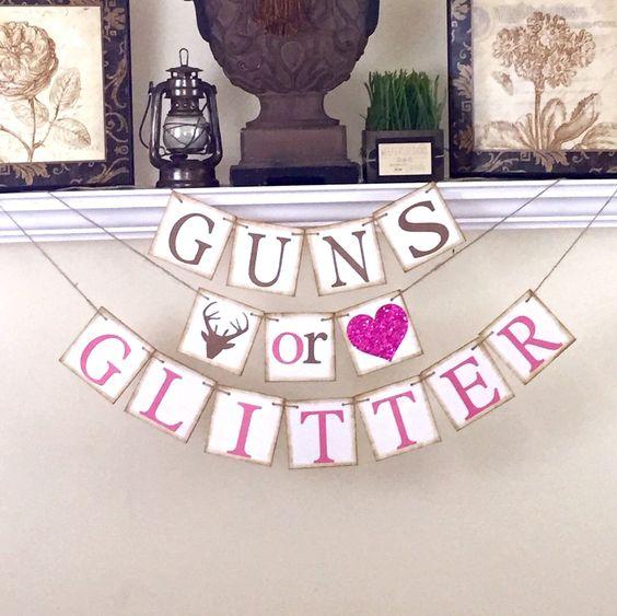 Reveal Gender Or Glitter Guns Centerpiece