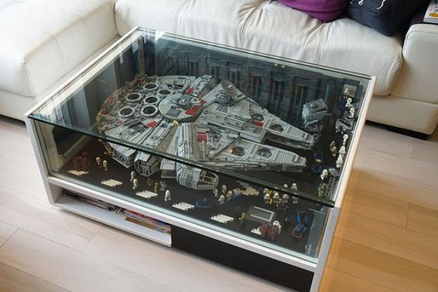 20 Star Wars Home D    cor Ideas For Geeks   Shelterness Lego Millenium table inspired by Falcon from the Star Wars