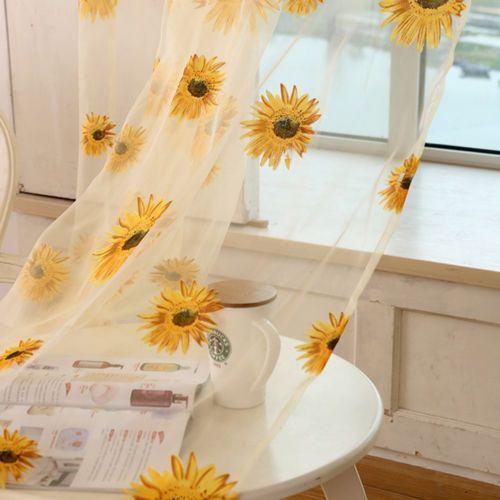 15 Cheerful Sunflower Kitchen Decor Ideas   Shelterness tulle sunflower curtain will add a cheerful touch to the space