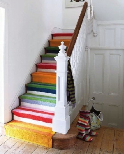 43 Cool Carpet Runners For Stairs To Make Your Life Safer | Multi Coloured Stair Carpet | American Style | Candy Stripe | Interior Design | Textured | Residence
