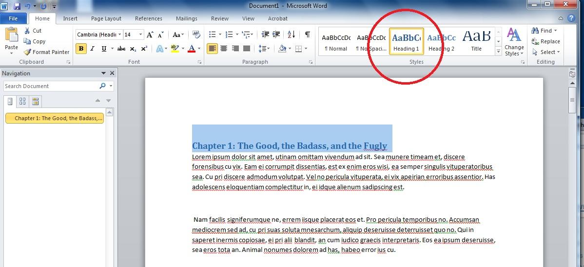 mla format word 2010