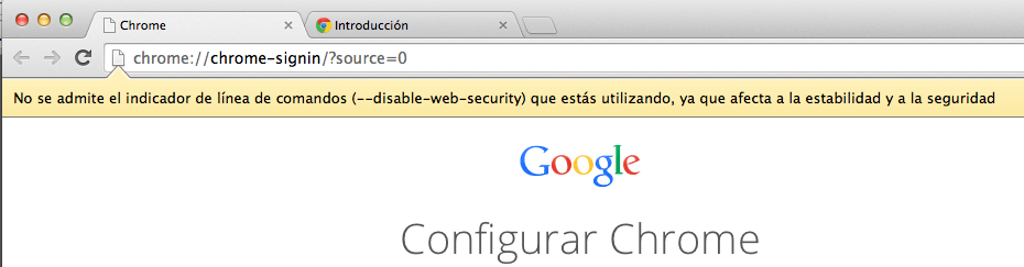 Disable 54 Web Security Chrome