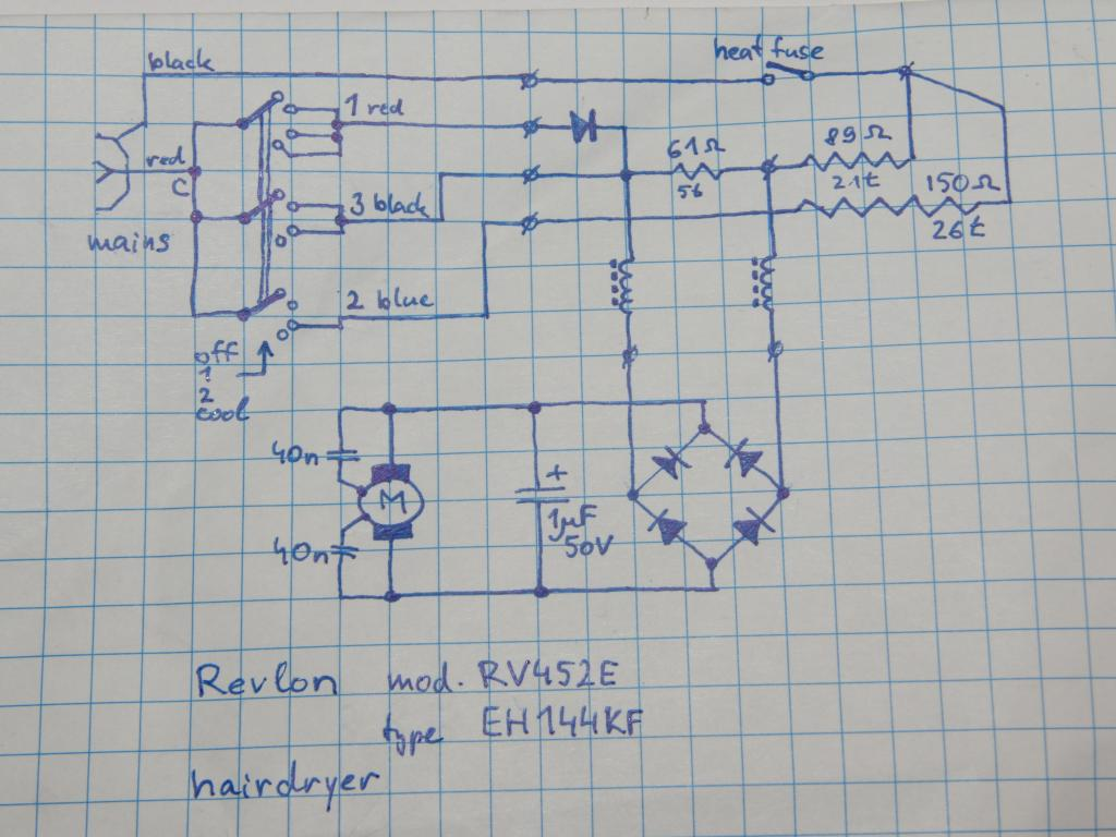 Hair Dryer Wiring Diagram For A
