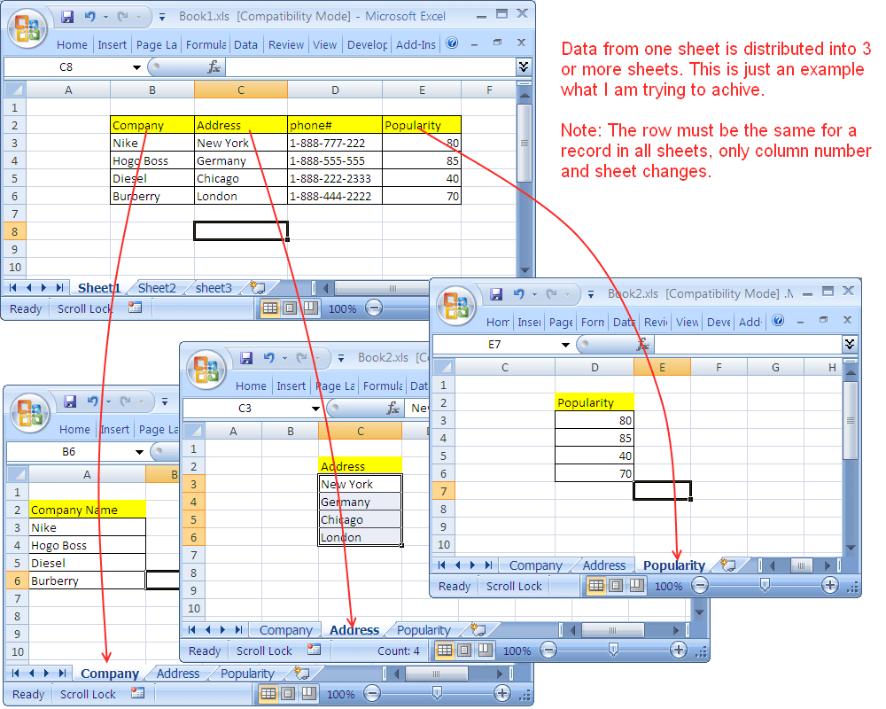 Copy Cells From E Sheet To Multiple Sheets Excel Vb St Ck