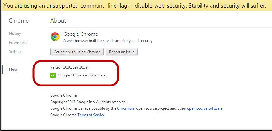 Disable Web Security Chrome 59