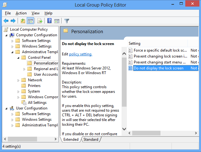 Windows Security Policy