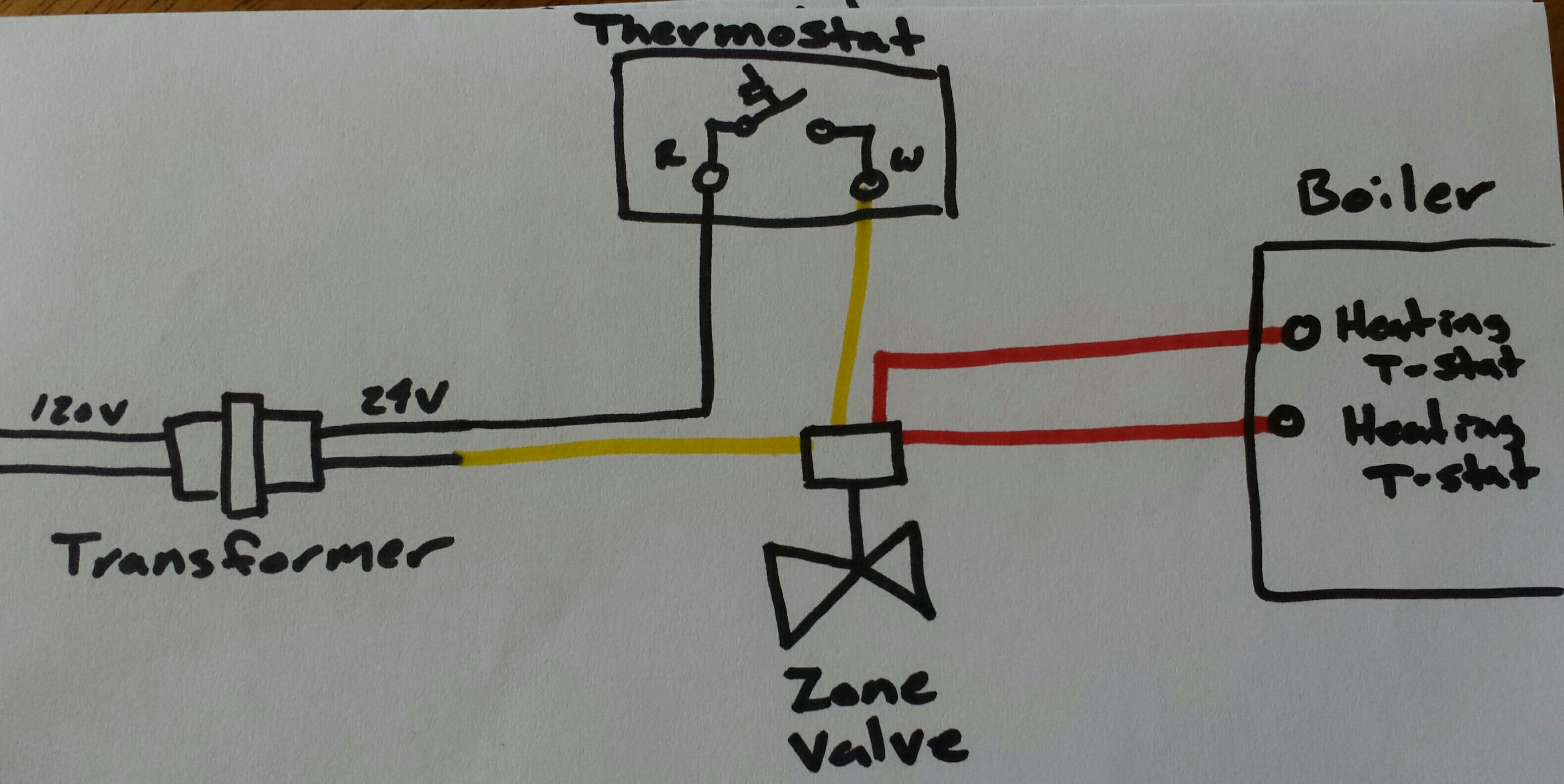3 Wire Zone Valve Wiring Diagram Heat Only Thermostat With Honeywell