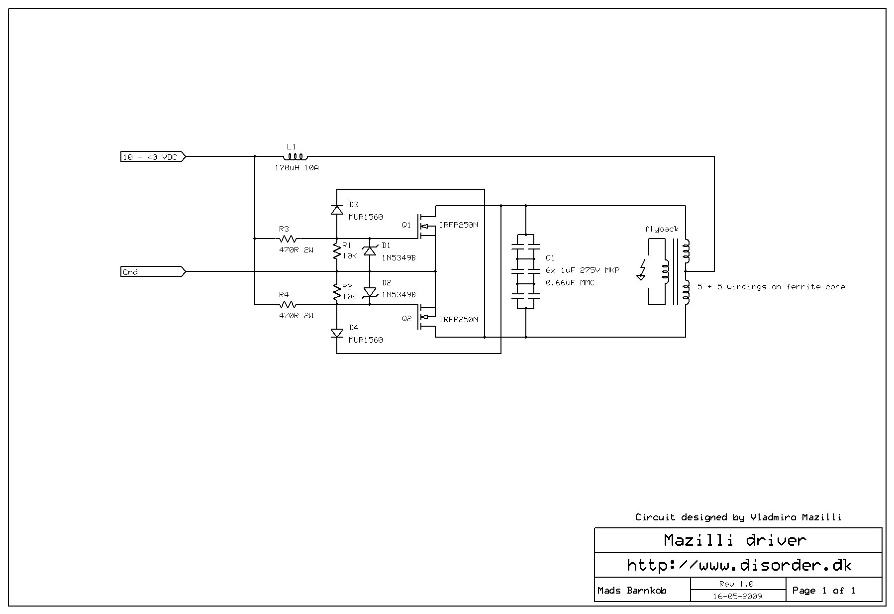 Zvs Driver Schematic Flyback