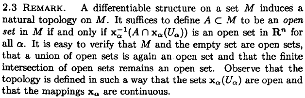 Differential Geometry Topological Structure On Smooth
