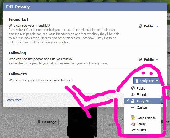 Friends Facebook Restricted Edit List