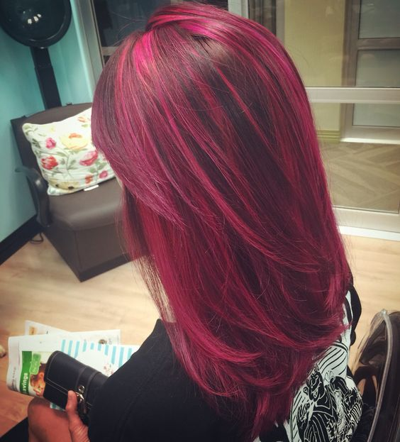Hair Brown Red Highlights Light