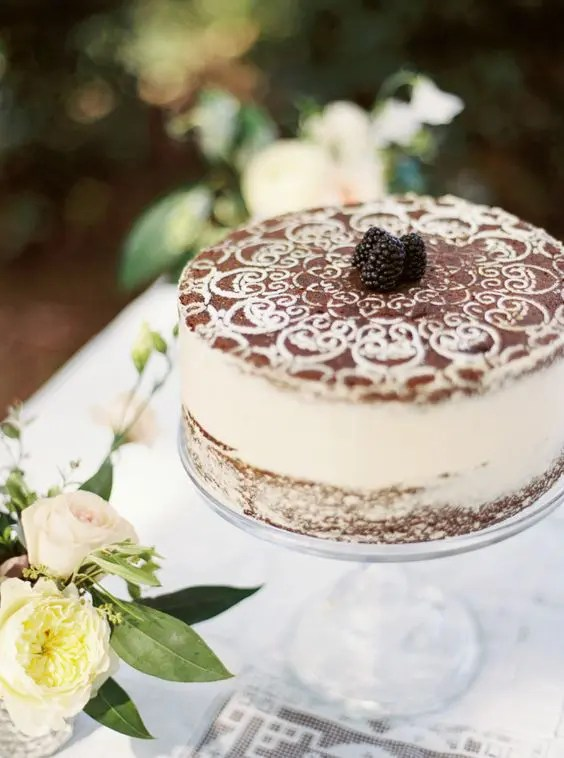 Picture Of tiramisu wedding cake topped with berries