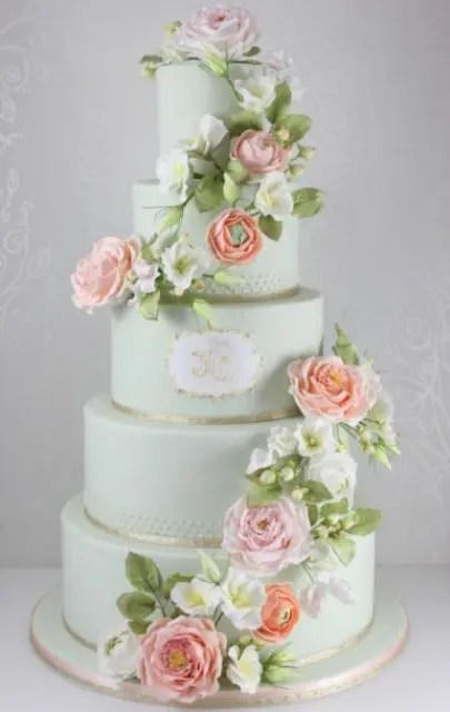Cakes Wedding Ribbons And Flowers