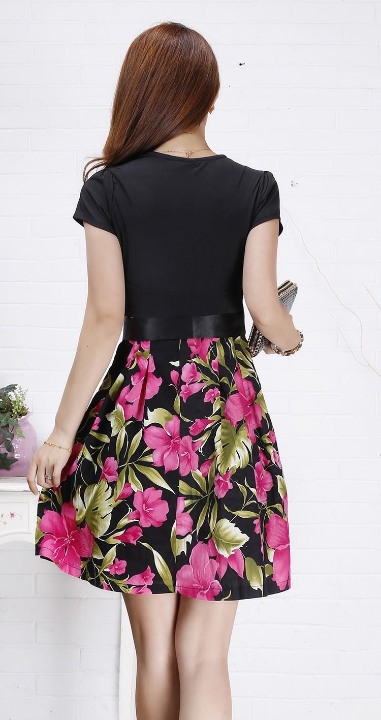 ef731b37d 2014 الصيف اللباس مع قصيرة الأكمام الأزياء ، زراعة المرء الأخلاق المعرض  رقيقة هشة الطباعة الخامس الرقبة الخصر النساء اللباس