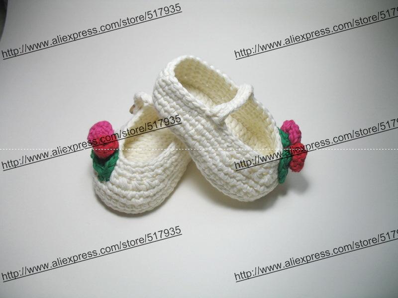 482c23f1b ₩شحن مجاني ، اليدوية الكروشيه طفلة أحذية 100% القطن. مزدوجة باطن ...