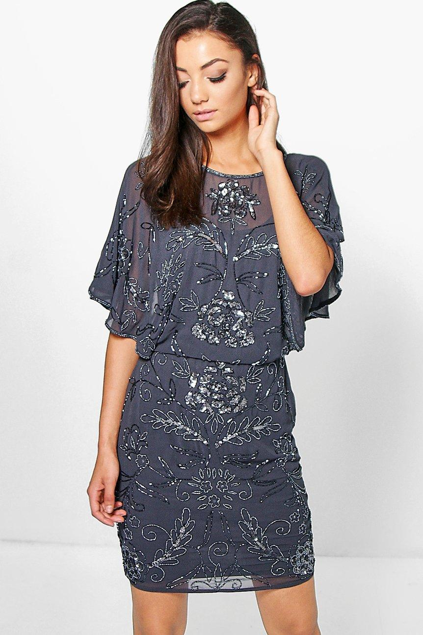 Tall Sanneen All Over Beaded Batwing Dress   Boohoo Tall Sanneen All Over Beaded Batwing Dress