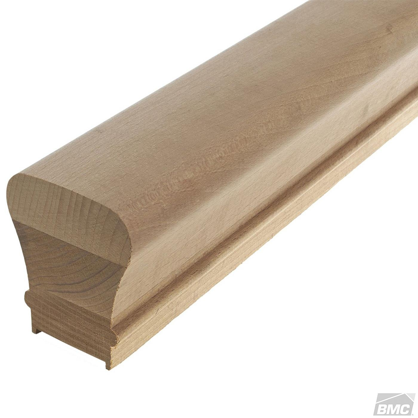 L J Smith 2 1 4 X 2 3 8 Plowed Solid Cap Red Oak Handrail W   6010 Red Oak Handrail   Stair Handrail   Start Easing   Iron Balusters   Tandem Cap   Staircase Handrail
