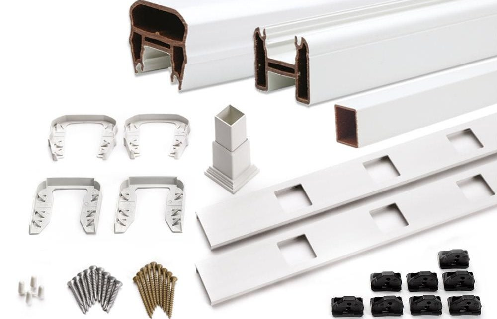 Trex Transcend® 8 Stair Rail Kit W Square Balusters White | Trex Transcend Stair Railing | Fascia | Lantern | Curved | Backyard | Premade Prefab Deck