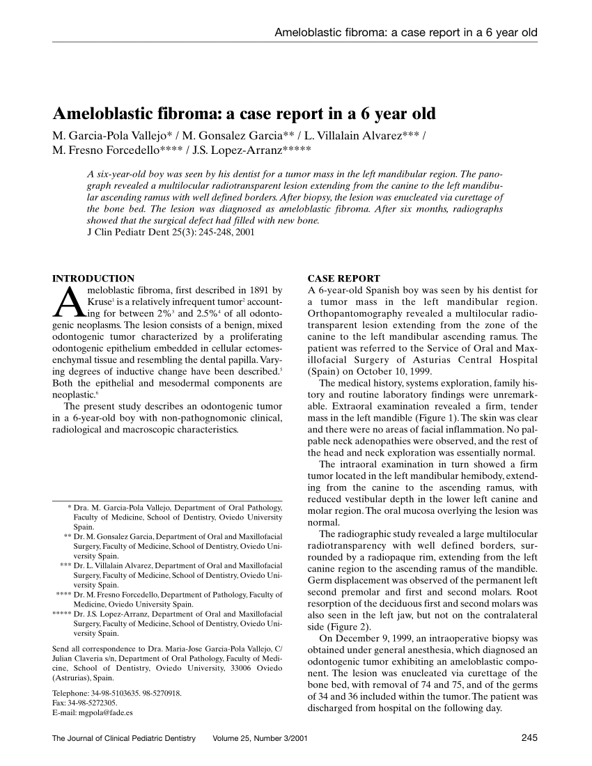 (PDF) Ameloblastic fibroma: A case report in a 6 year old
