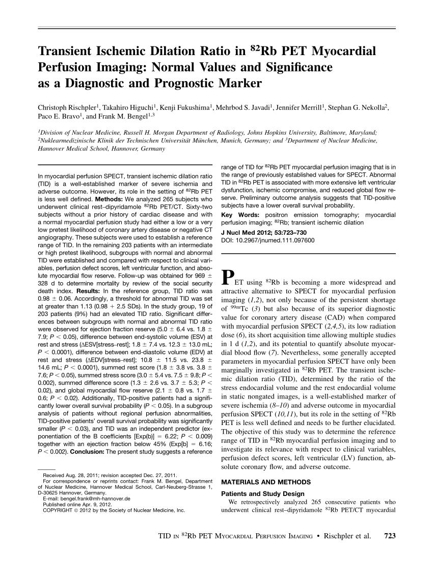 (PDF) Transient Ischemic Dilation Ratio in Rb-82 PET ...