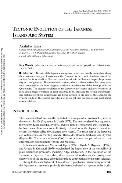 (PDF) Tectonic evolution of the Japanese island arc system